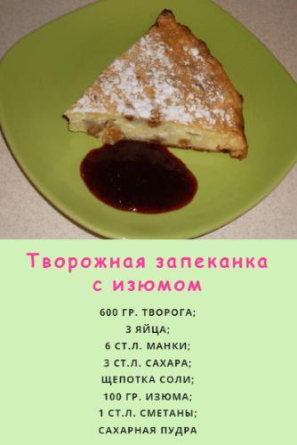 Рецепт запеканки с изюмом и манкой